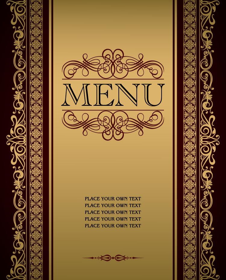 华丽的金色花边:菜单设计矢量素材