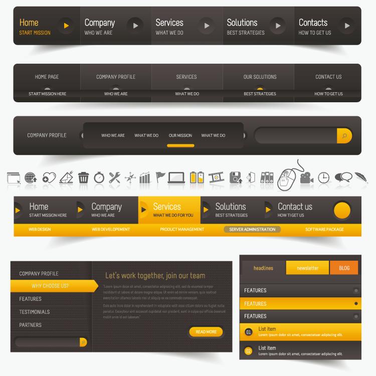 eps格式,导航,菜单,网页,图标,搜索框,矢量图 本地下载