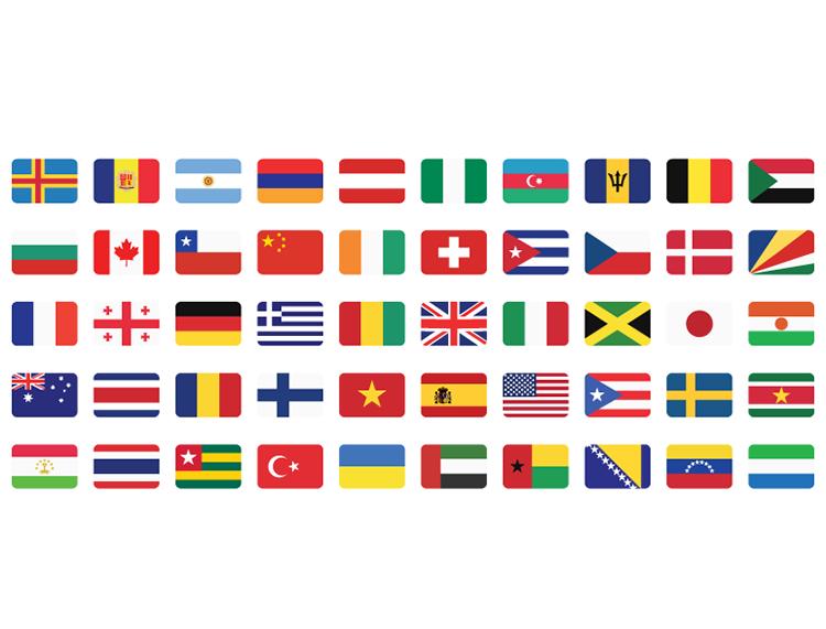 50个扁平化风格圆角国旗矢量素材