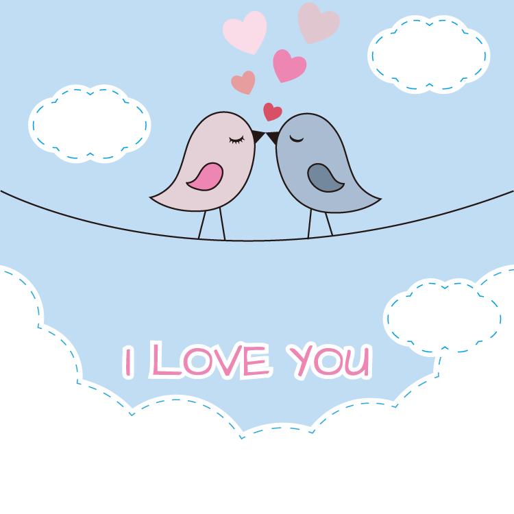 可爱情侣小鸟背景矢量素材