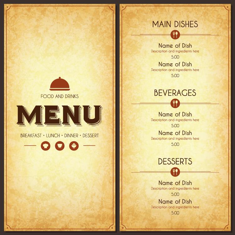 餐厅菜单模板矢量素材(6)