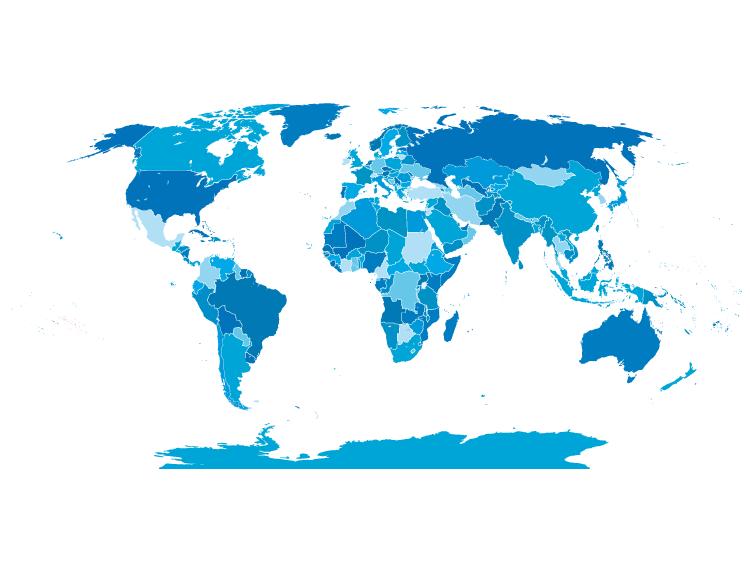 蓝色世界地图矢量素材