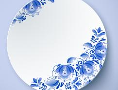 蓝花白瓷盘矢量素材