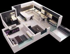 25个一居室户型装修3D布局效果