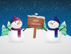 可爱雪人与木牌矢量素材