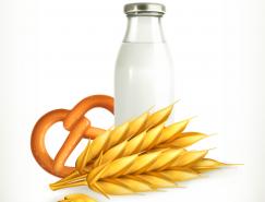 小麦和牛奶矢量素材