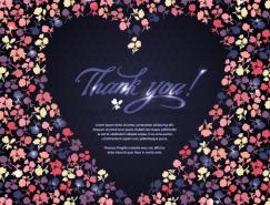 愛心形狀的花卉圖案背景矢量素材