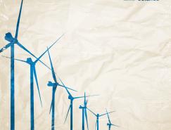 风力发电与皱褶的纸背景矢量素材