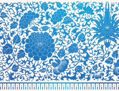 传统风格蓝色花卉花纹背景矢量素材