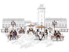 手绘风格街头咖啡馆矢量素材