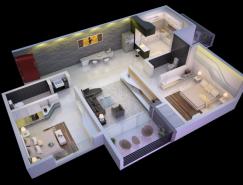 25个二居室户型装修3D布局效果