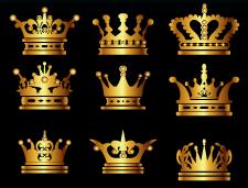 100个金色皇冠矢量素材