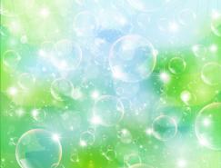清新的水泡和绿叶背景矢量素材