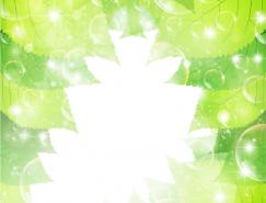 清新的水泡和绿叶背景矢量素材(3)