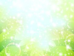 清新的水泡和绿叶背景矢量素材(2)