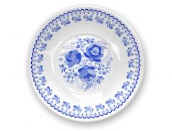 蓝花白色瓷盘矢量素材