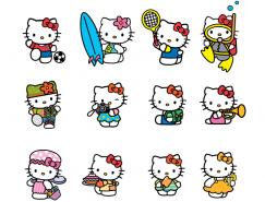 15个可爱的Hello Kitty猫矢量素材