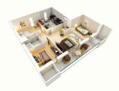 25个三居室户型3D布局效果图