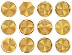 金色徽章矢量素材(1)