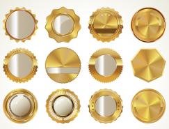 金色徽章矢量素材(2)