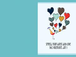 手繪情人節卡片設計矢量素材