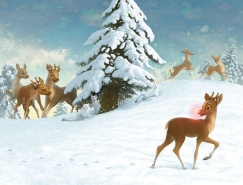 聖誕節紅鼻子馴鹿插畫設計