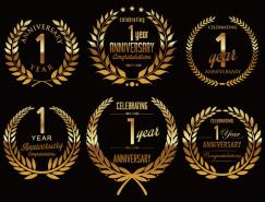 9款金色周年庆标签矢量素材