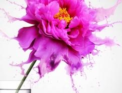 PS合成花瓣飞溅的红色花朵