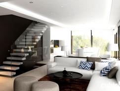 瑞士简约现代豪宅的棕色装修设计