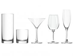 5款玻璃杯和高腳杯矢量素材