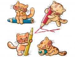 可爱猫咪与铅笔矢量素材