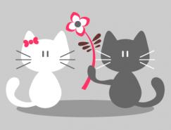 卡通爱心猫咪情侣矢量素材