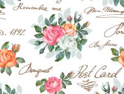 複古手繪花卉背景矢量素材