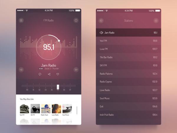 30个收音机app法则UI设计欣赏平面设计黄金分割构图界面图片