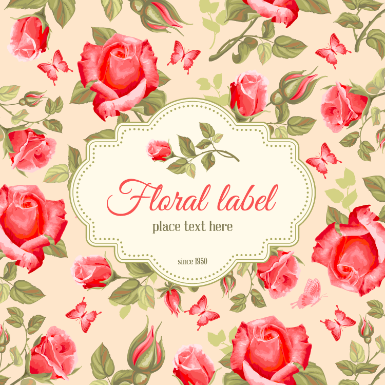 复古红玫瑰背景矢量素材