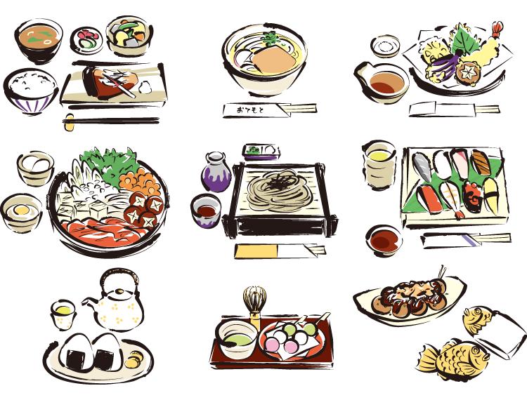 ai格式,日本,手绘,美食,寿司,乌冬面,料理,矢量图