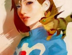 日本Wataboku漂亮的女孩肖像插画欣赏