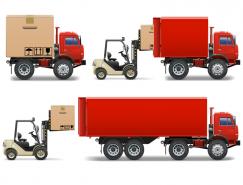 貨車和叉車矢量素材