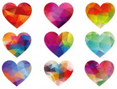 9款彩色几何形爱心矢量素材