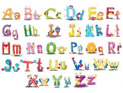 有趣的卡通字母设计矢量素材