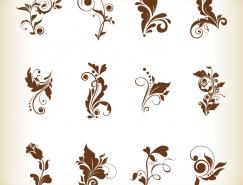 漂亮的花卉花纹装饰元素矢量素材