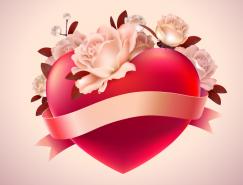 情人節浪漫紅心花卉背景矢量素材