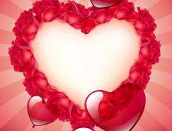 浪漫情人节红心玫瑰背景矢量素材