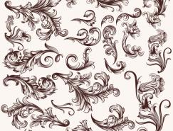 经典复古风格装饰花卉花纹矢量素材