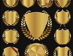 金色徽章标签矢量素材