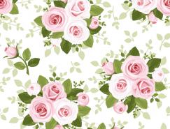 玫瑰花圖案無縫背景矢量素材