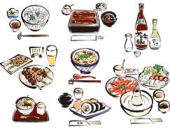 手绘美味日本料理矢量素材(2)