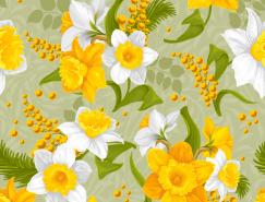 白色和黄色花朵无缝背景矢量