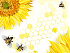 向日葵和蜜蜂矢量素材
