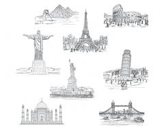 手绘世界著名景观矢量素材